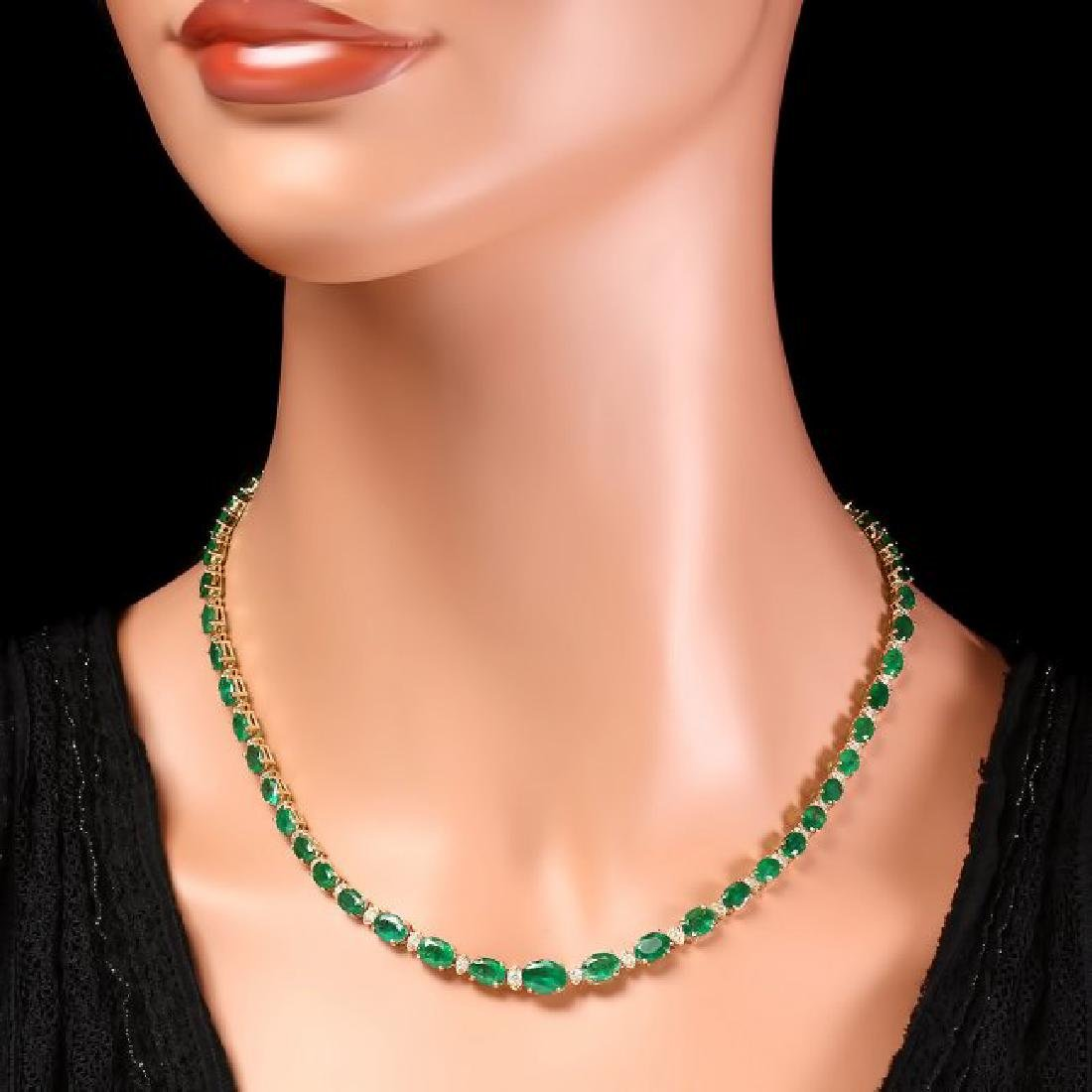 14k Gold 23ct Emerald 1.10ct Diamond Necklace - 6