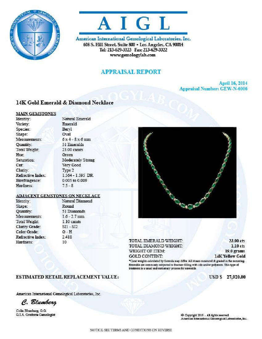 14k Gold 23ct Emerald 1.10ct Diamond Necklace - 7