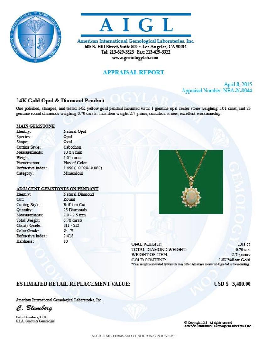 14k Gold 1.01ct Opal 0.70ct Diamond Pendant - 3