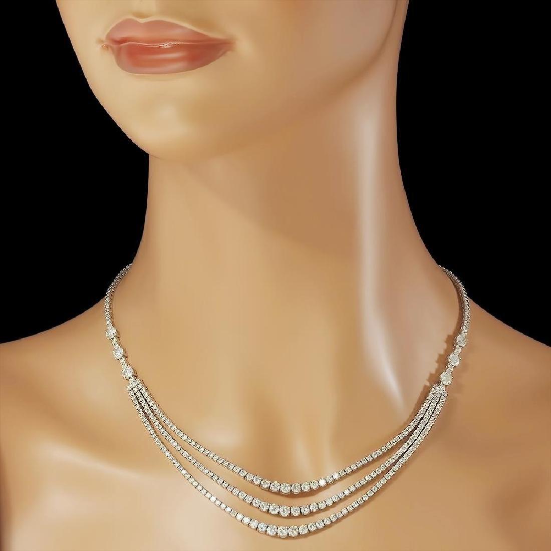 14K Gold 12.20ct Diamond Necklace - 3