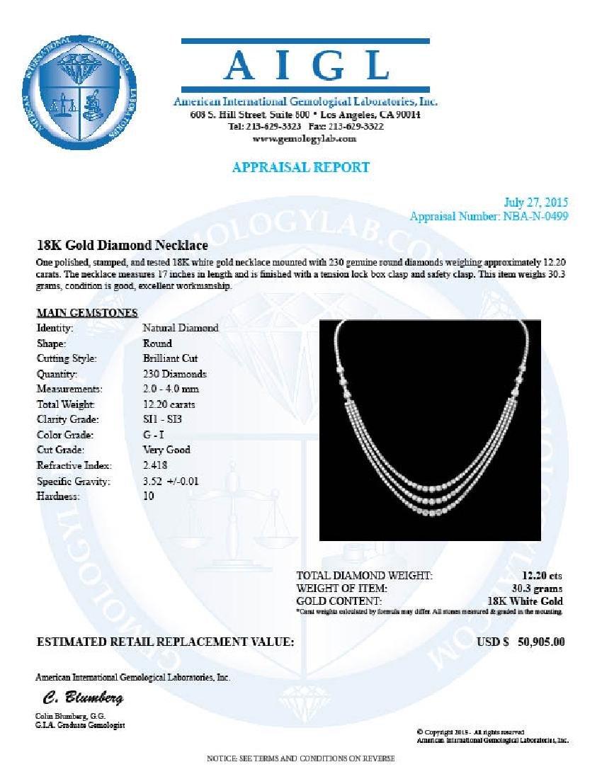 14K Gold 12.20ct Diamond Necklace - 5