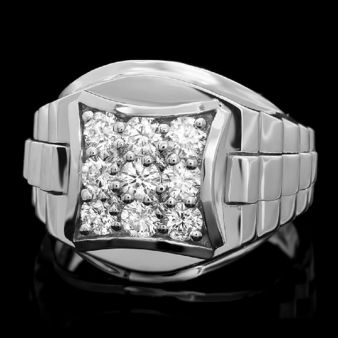 14k White Gold 1.15ct Diamond Mens Ring
