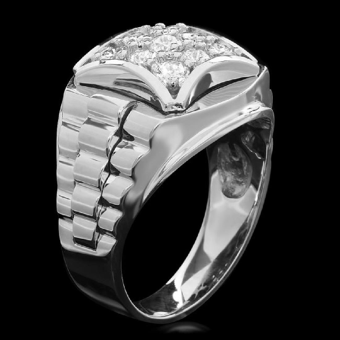 14k White Gold 1.15ct Diamond Mens Ring - 2