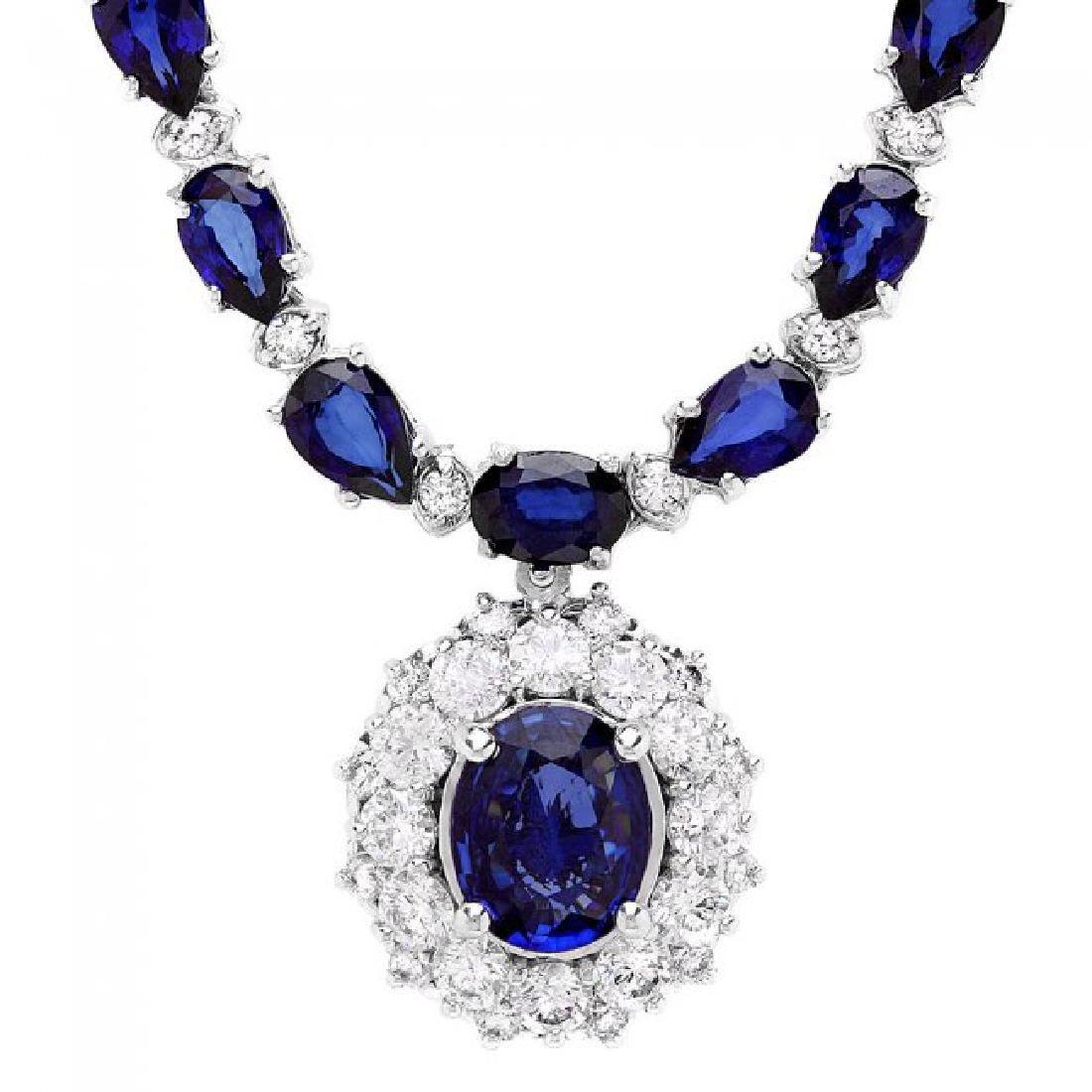 14k Gold 28ct Sapphire 3.35ct Diamond Necklace - 2
