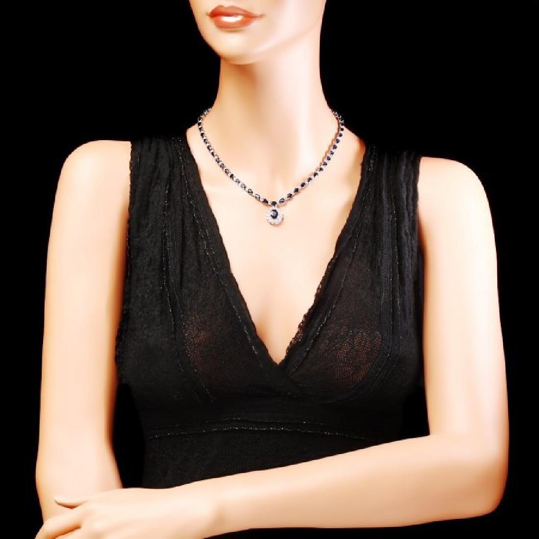 14k Gold 28ct Sapphire 3.35ct Diamond Necklace - 4