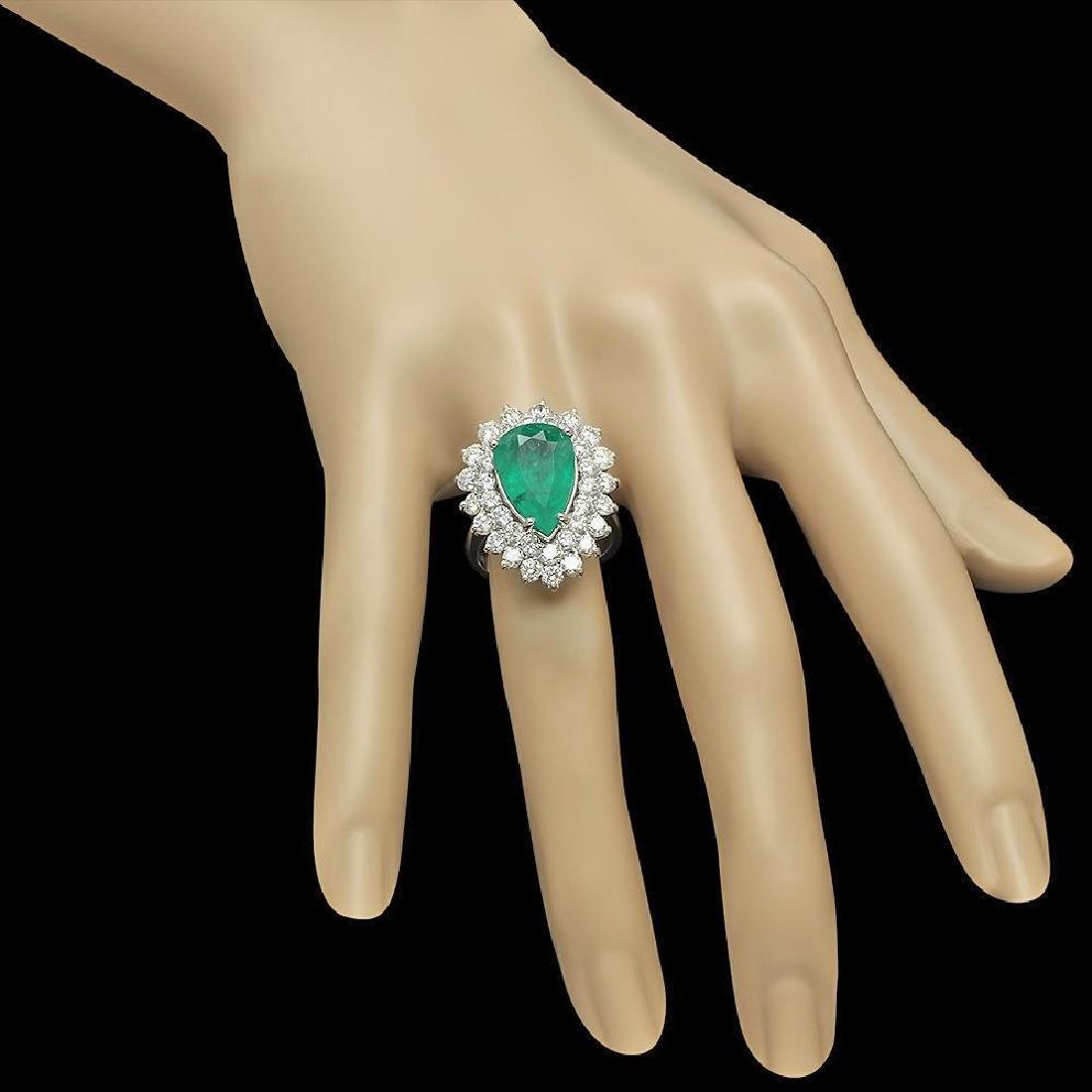 14K Gold 5.12ct Emerald & 2.75ct Diamond Ring - 3