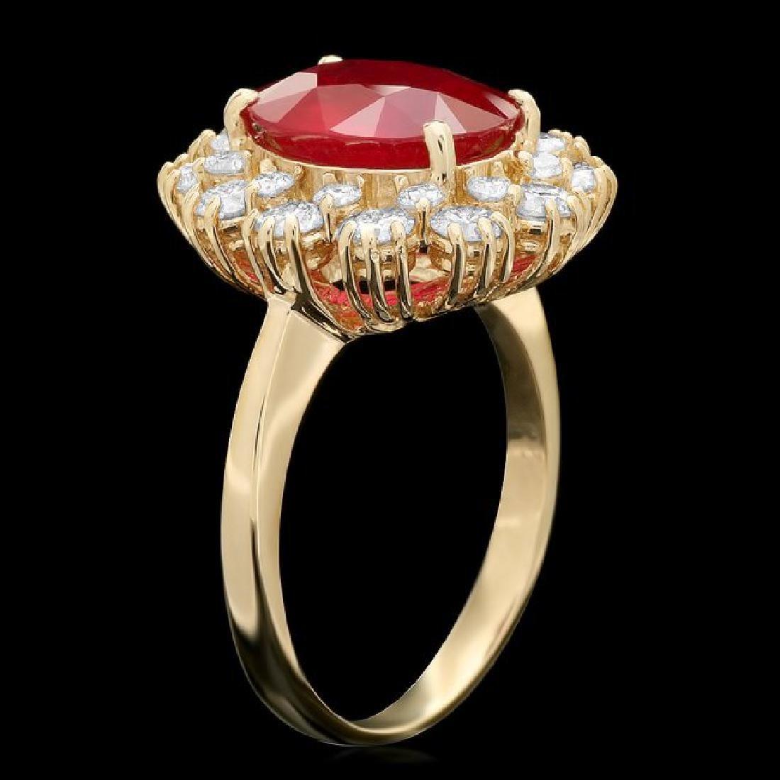 14k Yellow Gold 3.50ct Ruby 1.40ct Diamond Ring - 2