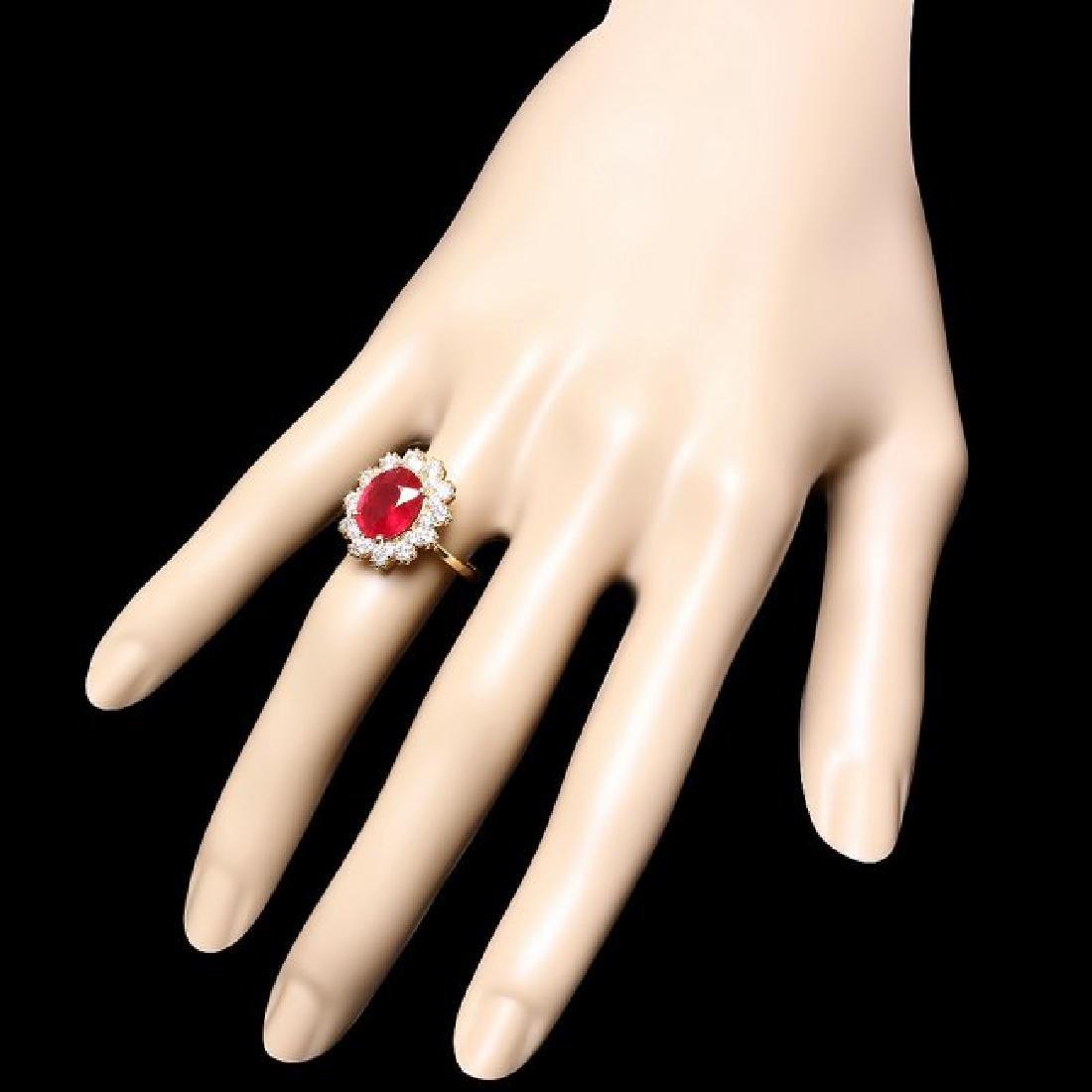 14k Yellow Gold 3.50ct Ruby 1.40ct Diamond Ring - 3