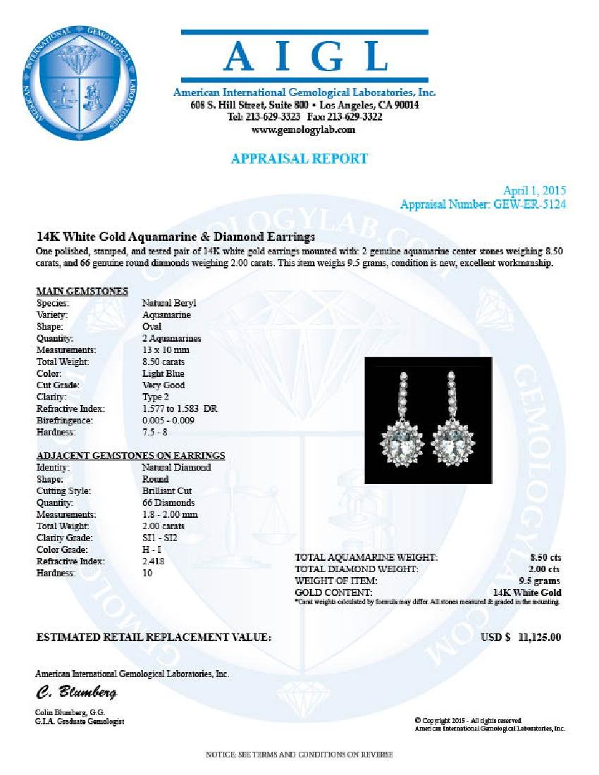 14k 8.50ct Aquamarine 2.00ct Diamond Earrings - 3