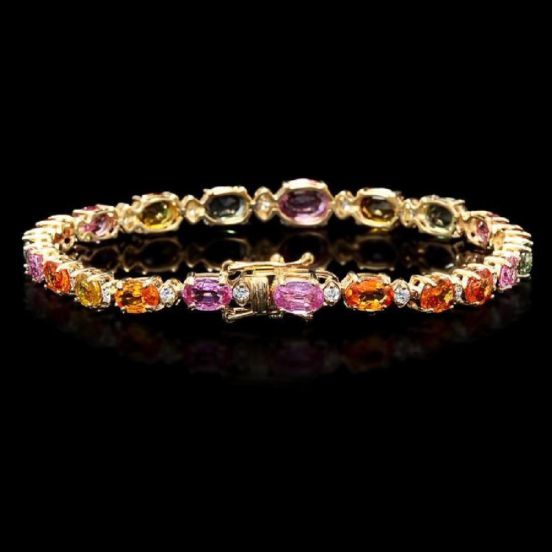 14k Gold 13.00ct Sapphire 0.80ct Diamond Bracelet - 2