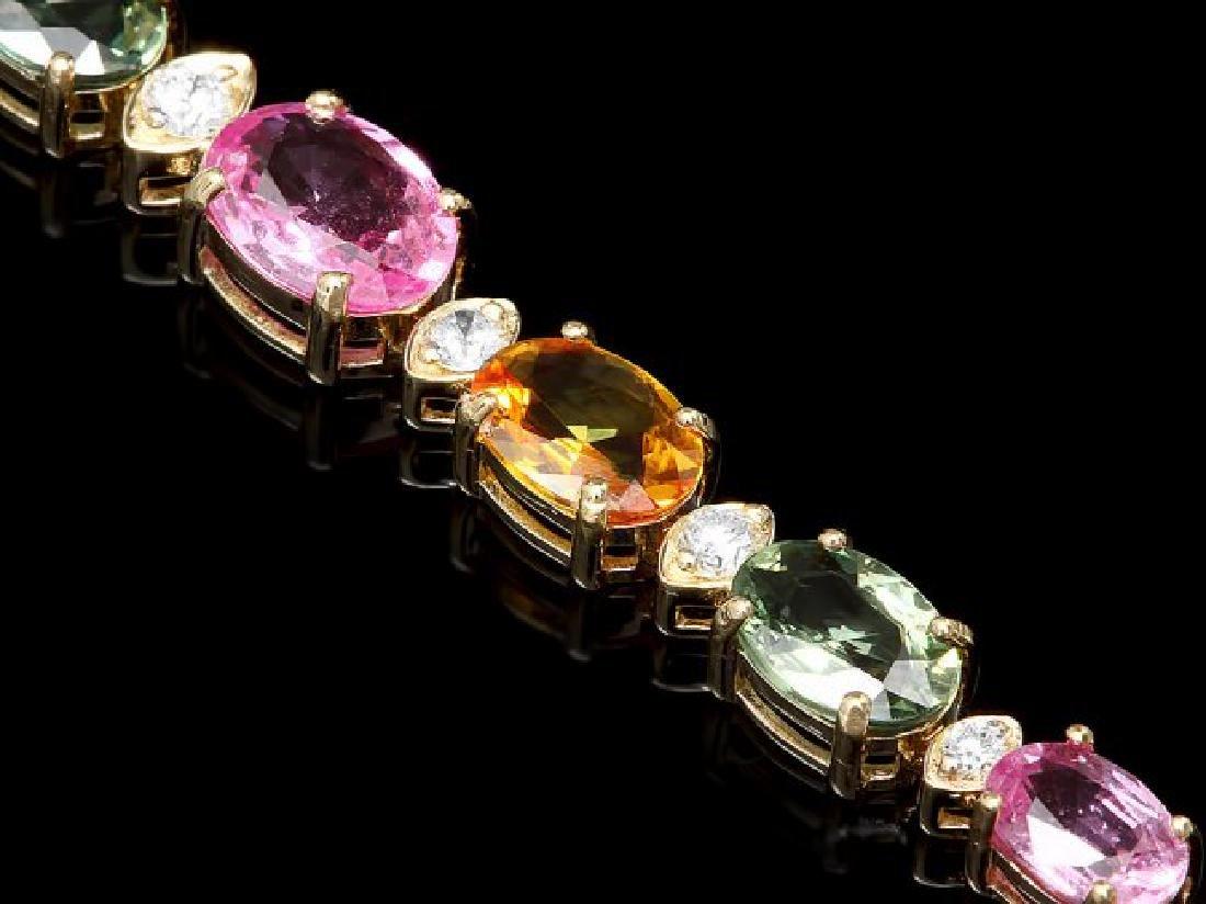 14k Gold 13.00ct Sapphire 0.80ct Diamond Bracelet - 3