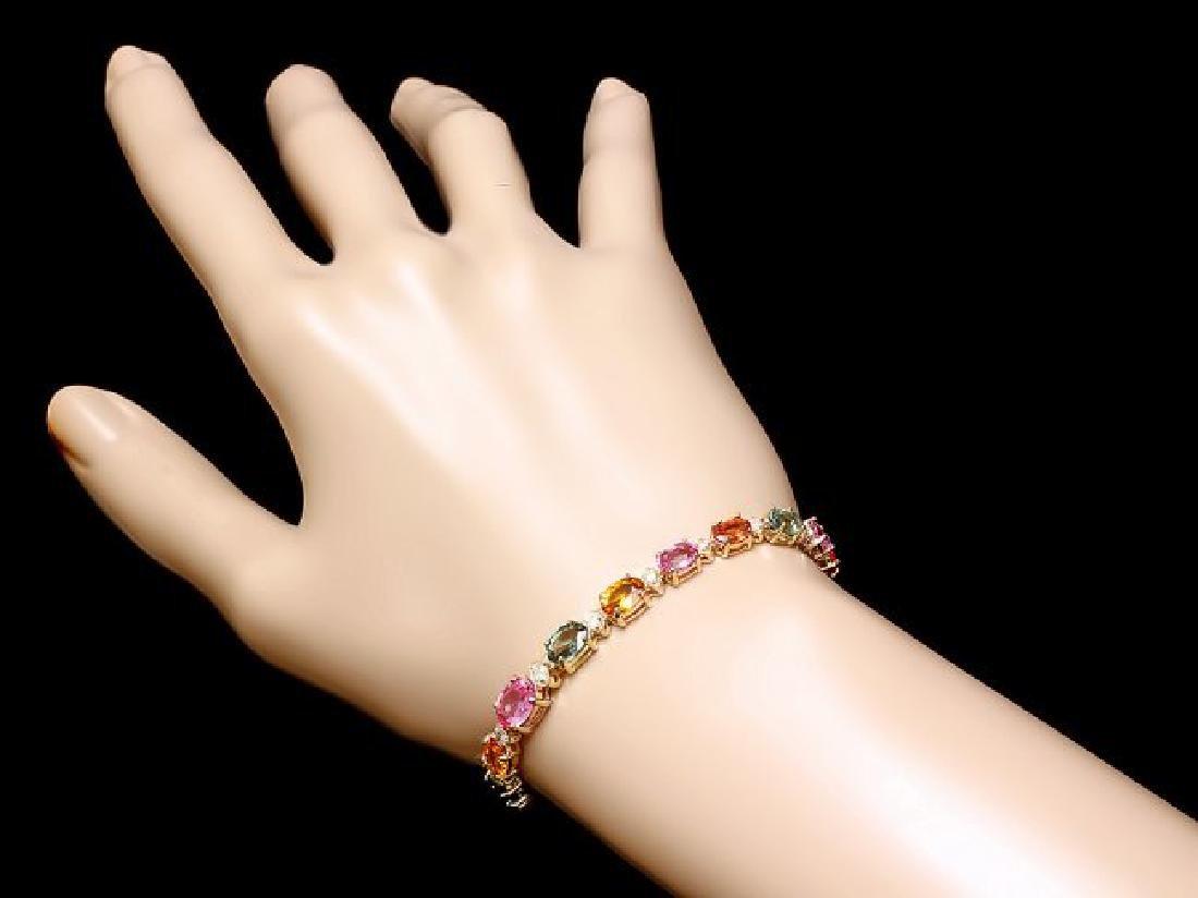 14k Gold 13.00ct Sapphire 0.80ct Diamond Bracelet - 4