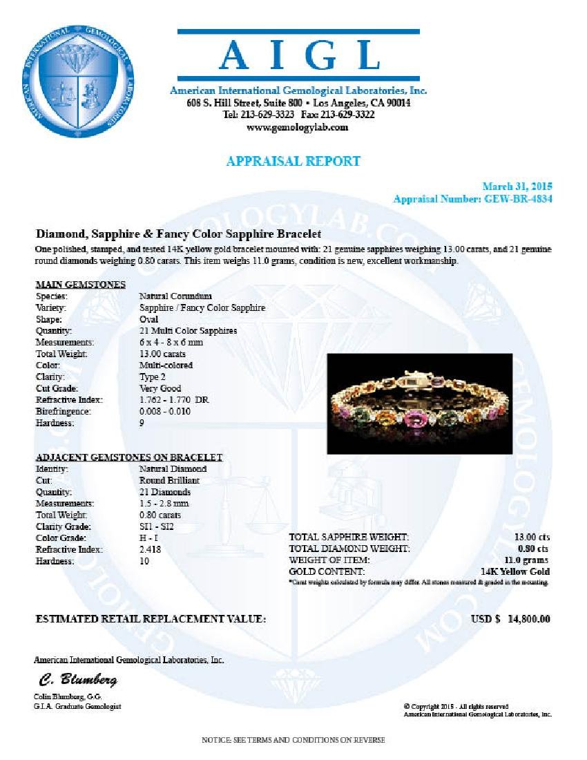 14k Gold 13.00ct Sapphire 0.80ct Diamond Bracelet - 6