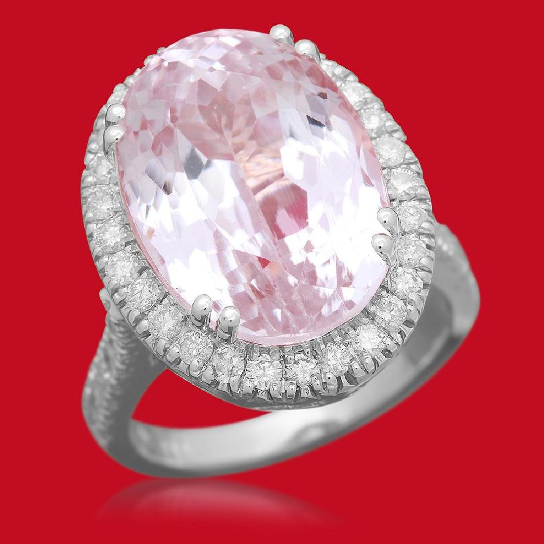14K Gold 16.21ct Kunzite 1.02ct Diamond Ring