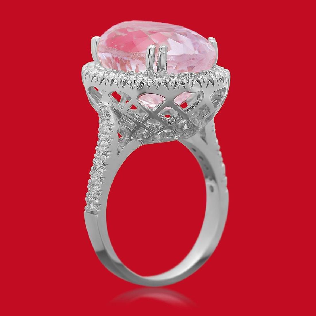 14K Gold 16.21ct Kunzite 1.02ct Diamond Ring - 2
