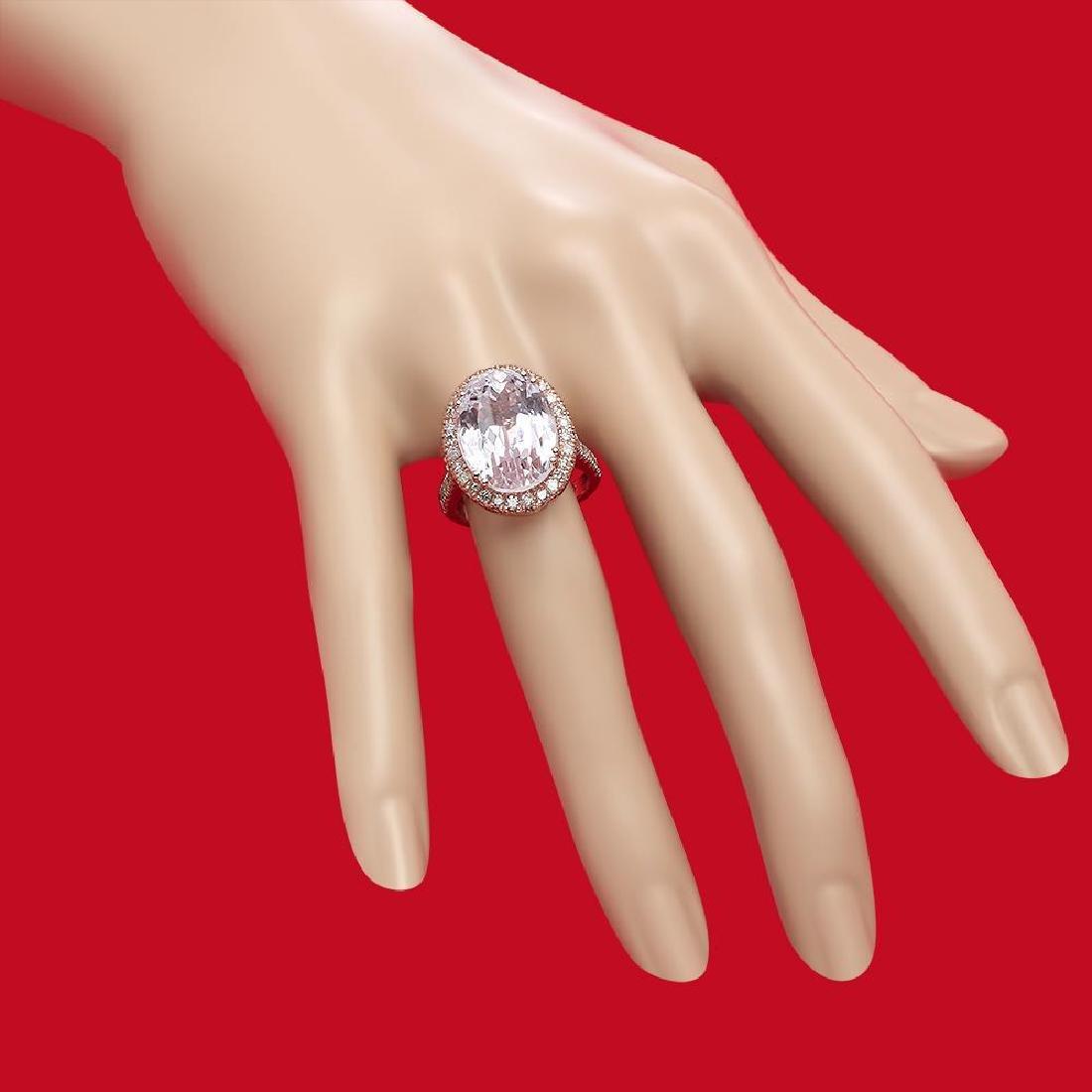 14K Gold 16.21ct Kunzite 1.02ct Diamond Ring - 3