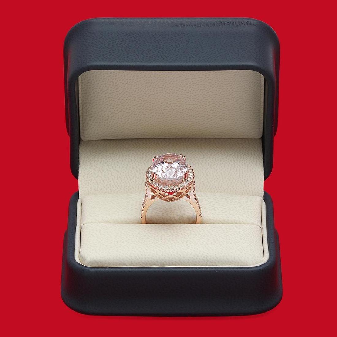 14K Gold 16.21ct Kunzite 1.02ct Diamond Ring - 4