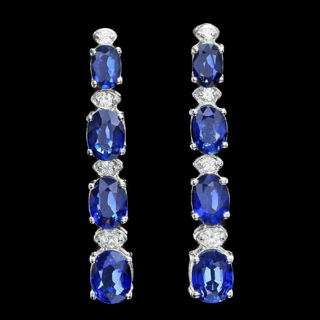 14k Gold 7ct Sapphire 0.33ct Diamond Earrings