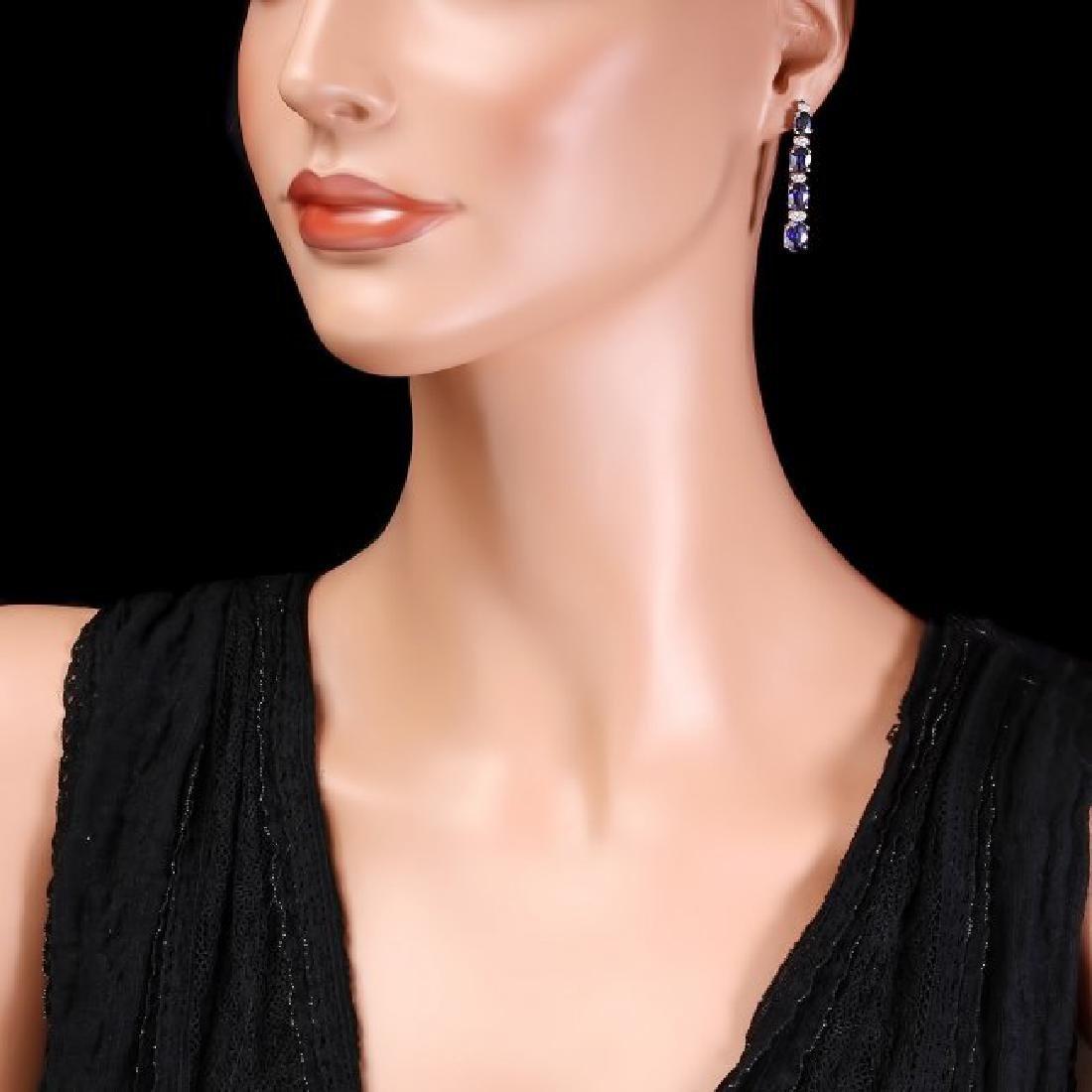 14k Gold 7ct Sapphire 0.33ct Diamond Earrings - 3