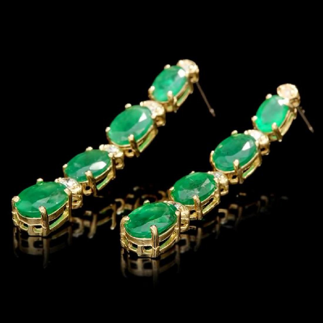 14k Gold 5.50ct Emerald 0.35ct Diamond Earrings - 3