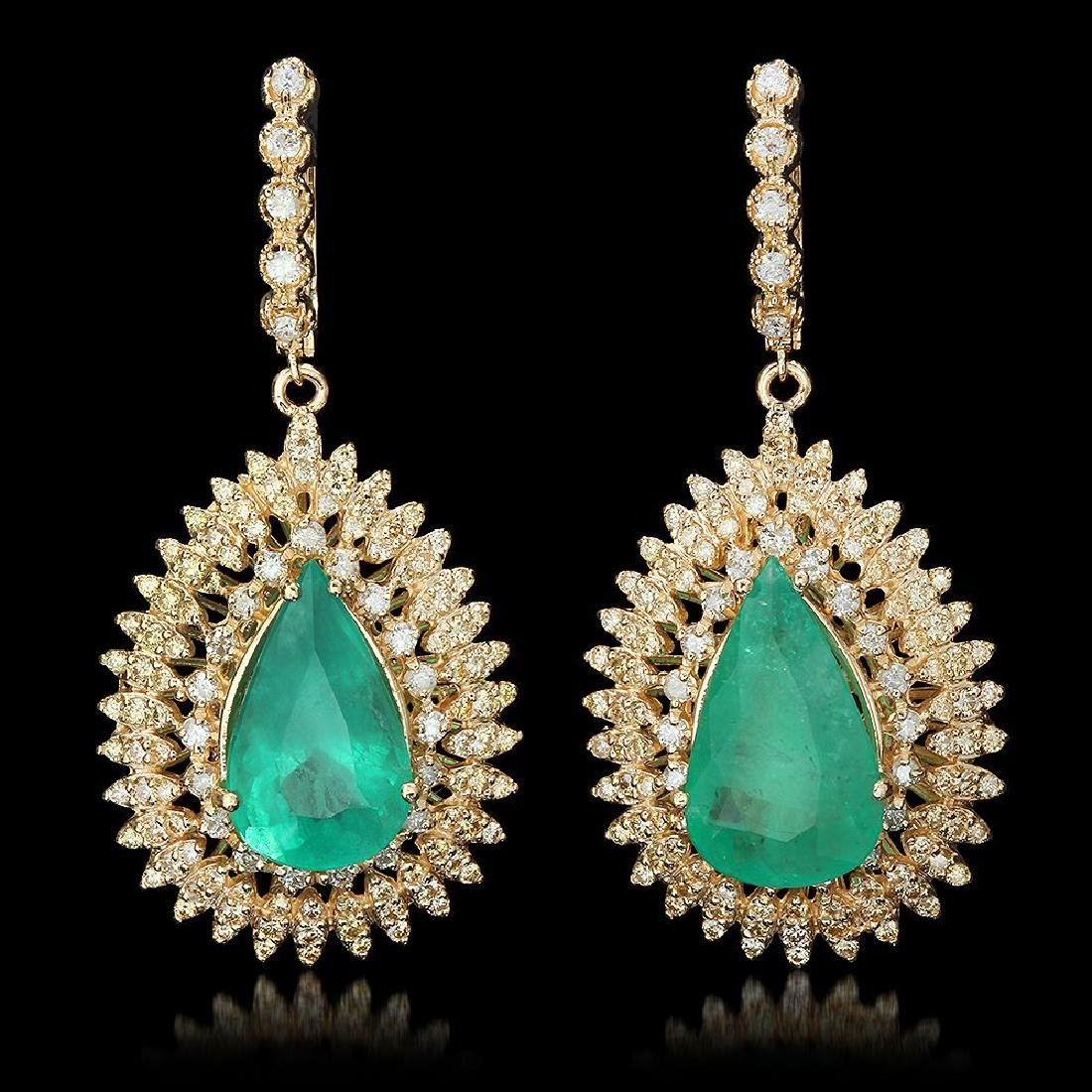 14K Gold 13.73ct Emerald 4.01ct Diamond Earrings
