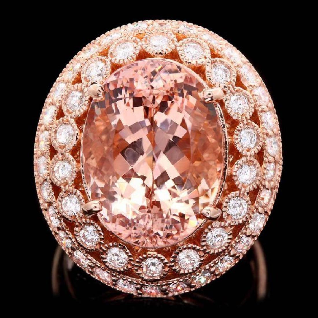 14k Rose 10.00ct Morganite 1.60ct Diamond Ring