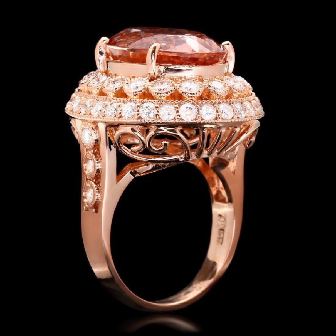 14k Rose 10.00ct Morganite 1.60ct Diamond Ring - 2