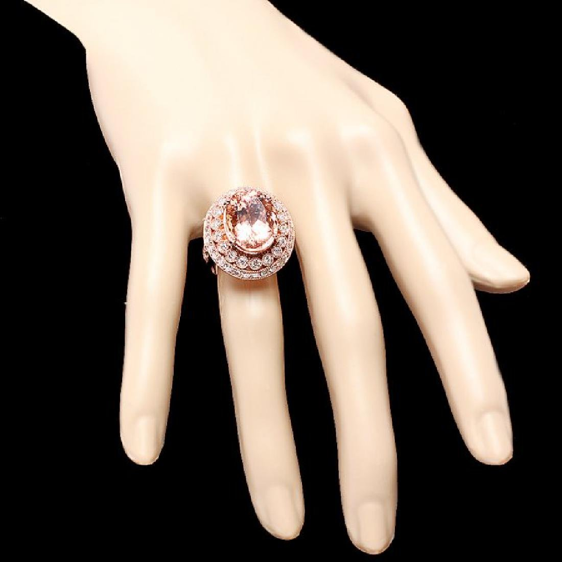 14k Rose 10.00ct Morganite 1.60ct Diamond Ring - 4