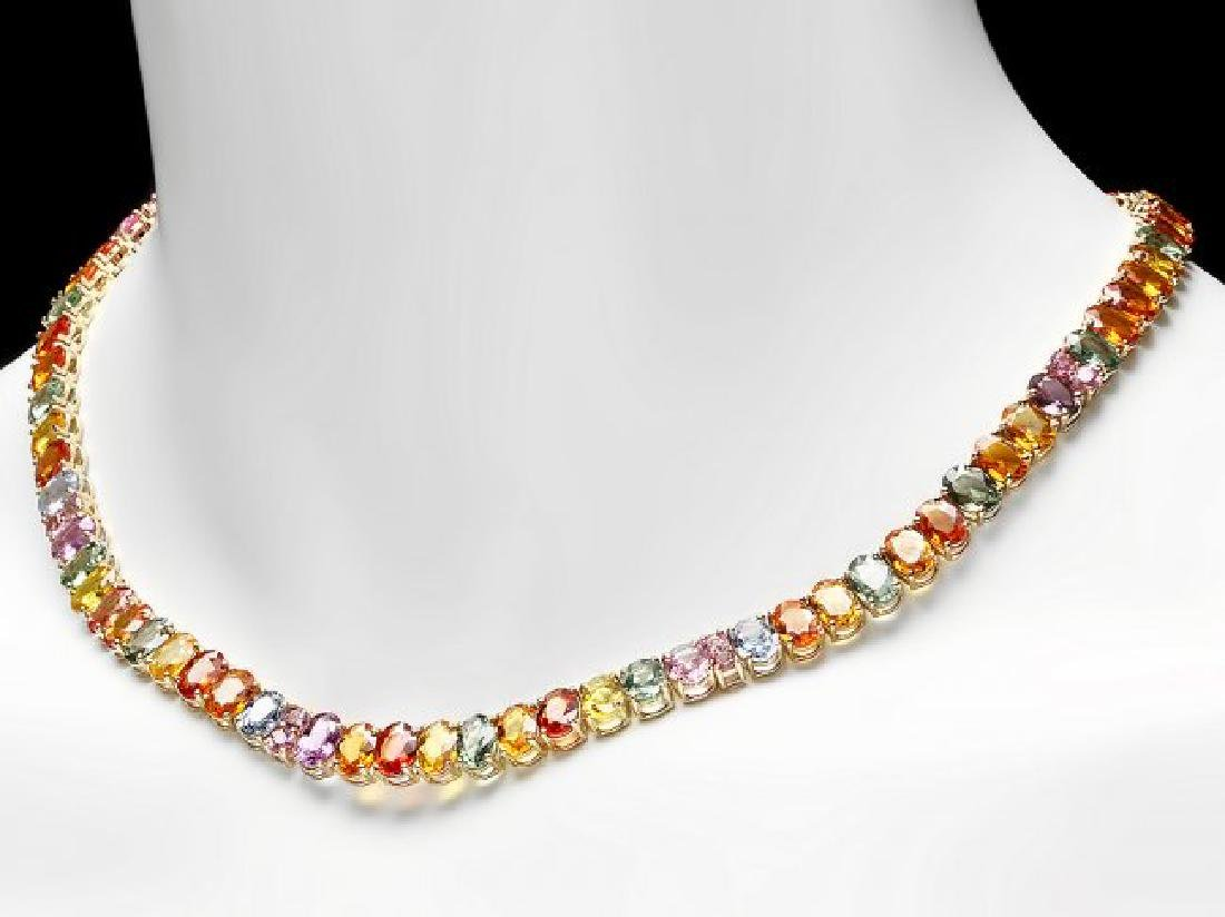 14k Yellow Gold 60ct Sapphire Necklace - 4