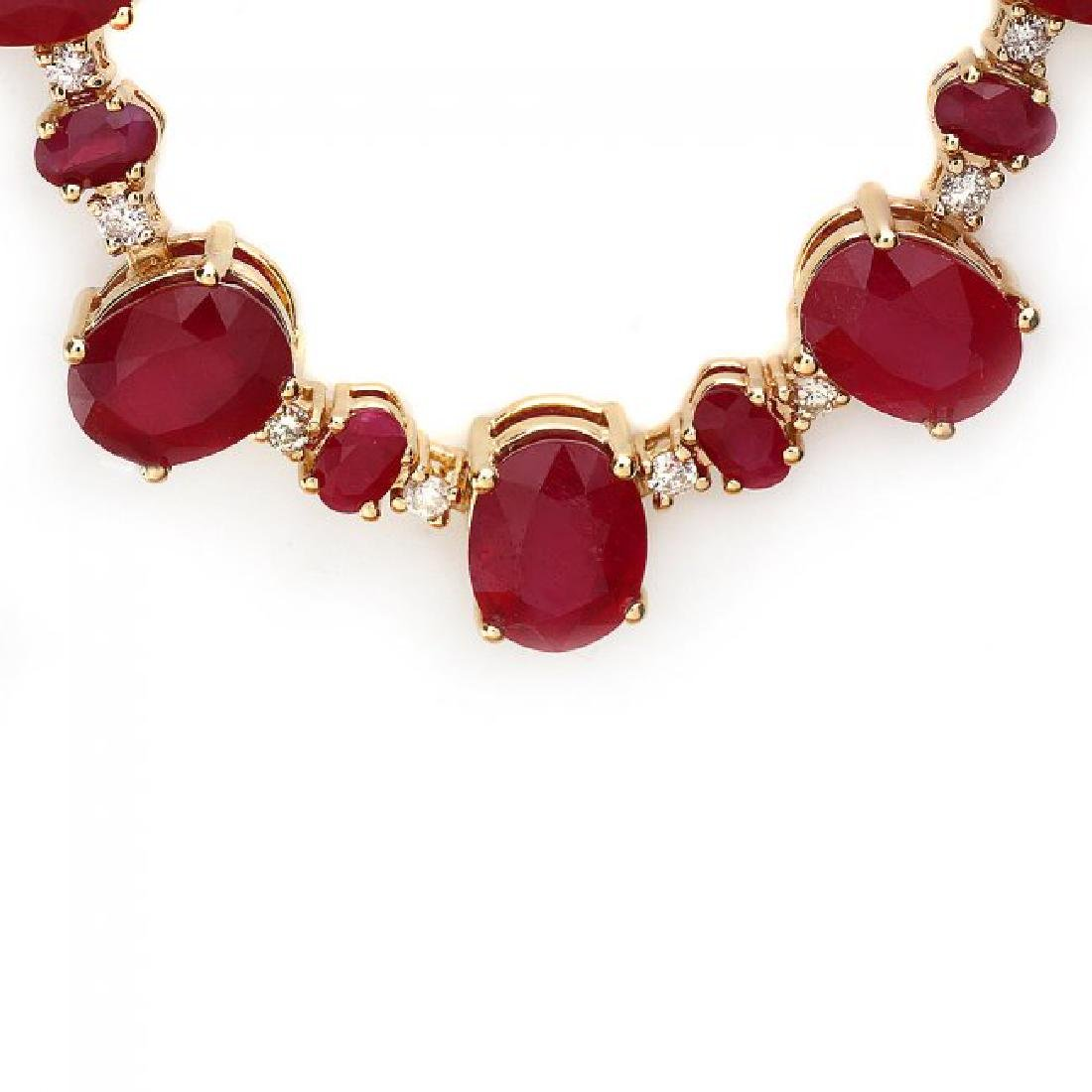 14k Yellow Gold 69ct Ruby 1.75ct Diamond Necklace - 2