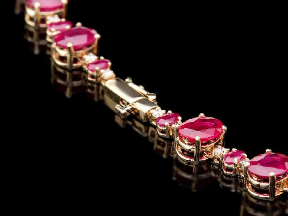 14k Yellow Gold 69ct Ruby 1.75ct Diamond Necklace - 4