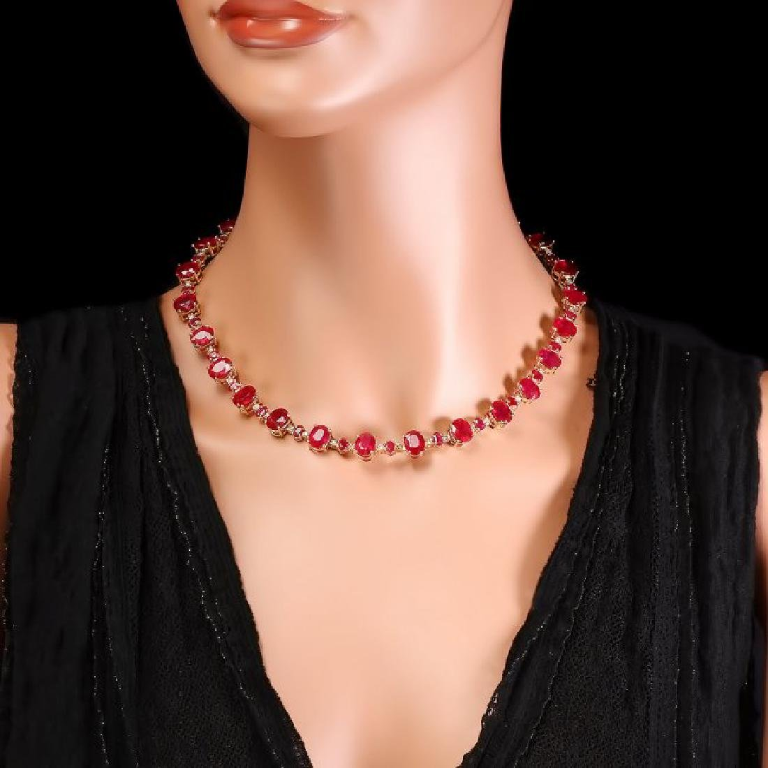 14k Yellow Gold 69ct Ruby 1.75ct Diamond Necklace - 6
