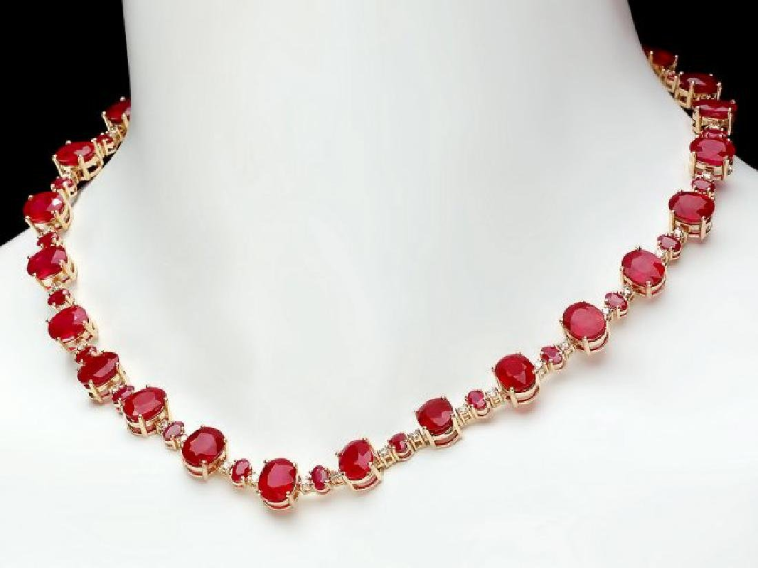14k Yellow Gold 69ct Ruby 1.75ct Diamond Necklace - 7