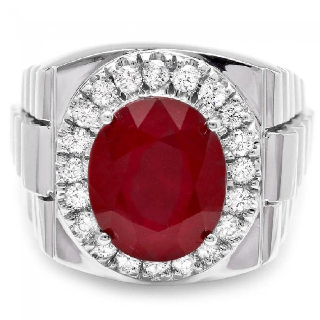 14k White Gold 10.00ct Ruby 0.80ct Diamond Ring - 2