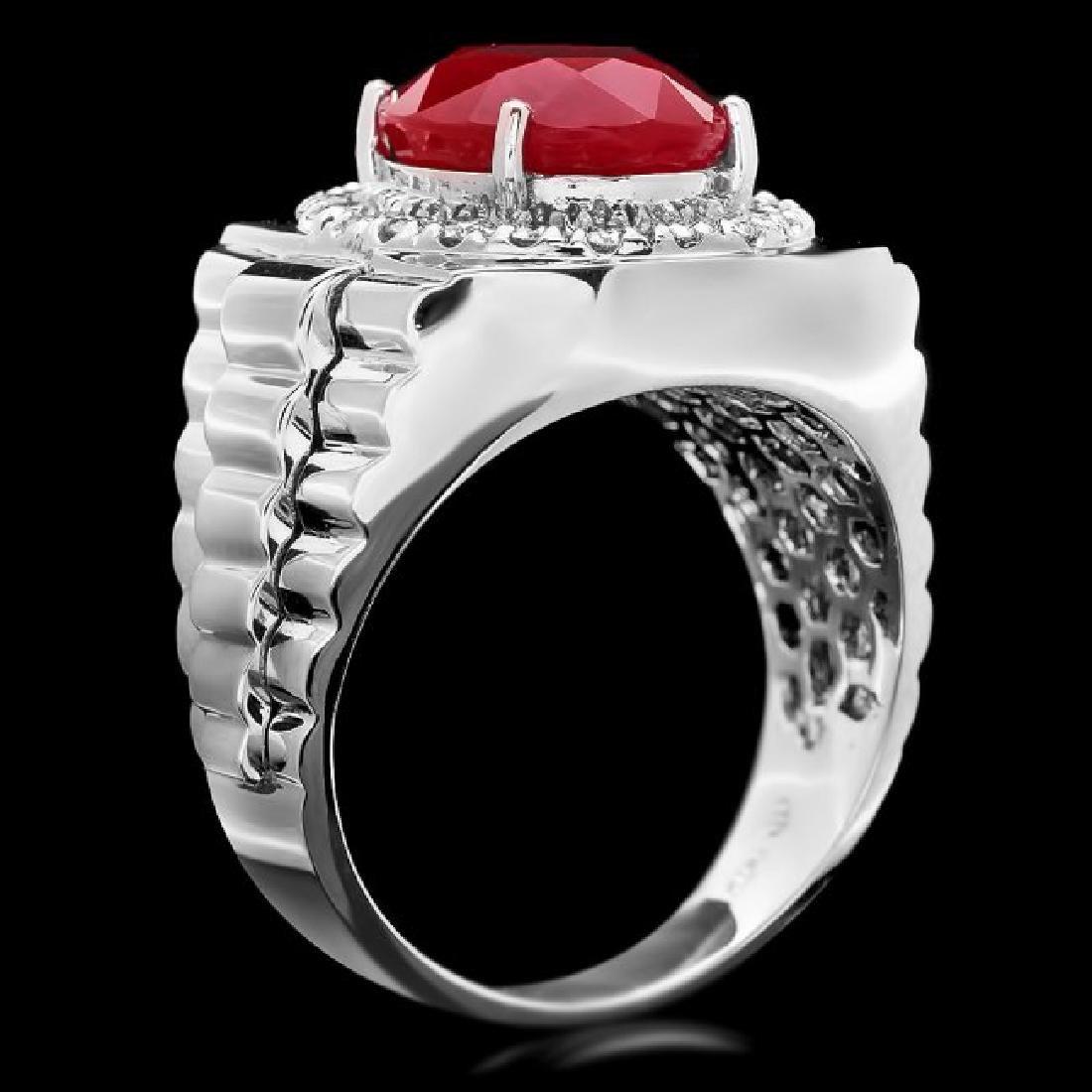 14k White Gold 10.00ct Ruby 0.80ct Diamond Ring - 3