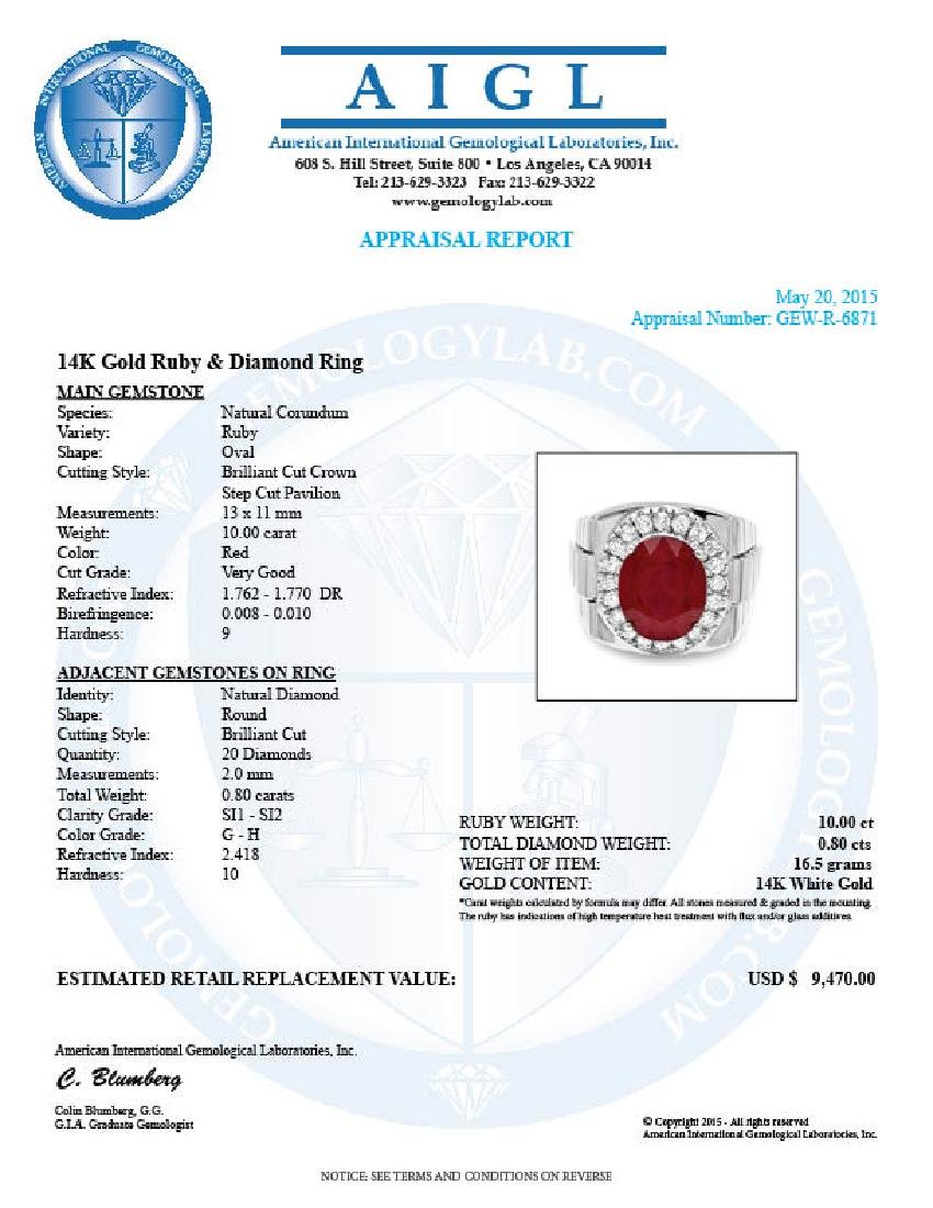 14k White Gold 10.00ct Ruby 0.80ct Diamond Ring - 6