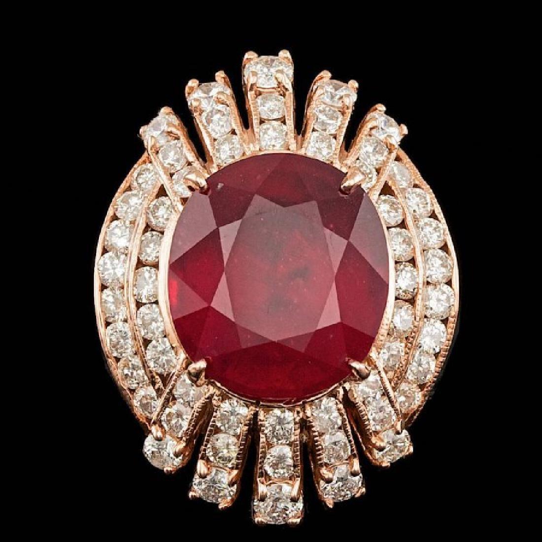 14k Rose Gold 11.00ct Ruby 2.10ct Diamond Ring - 2