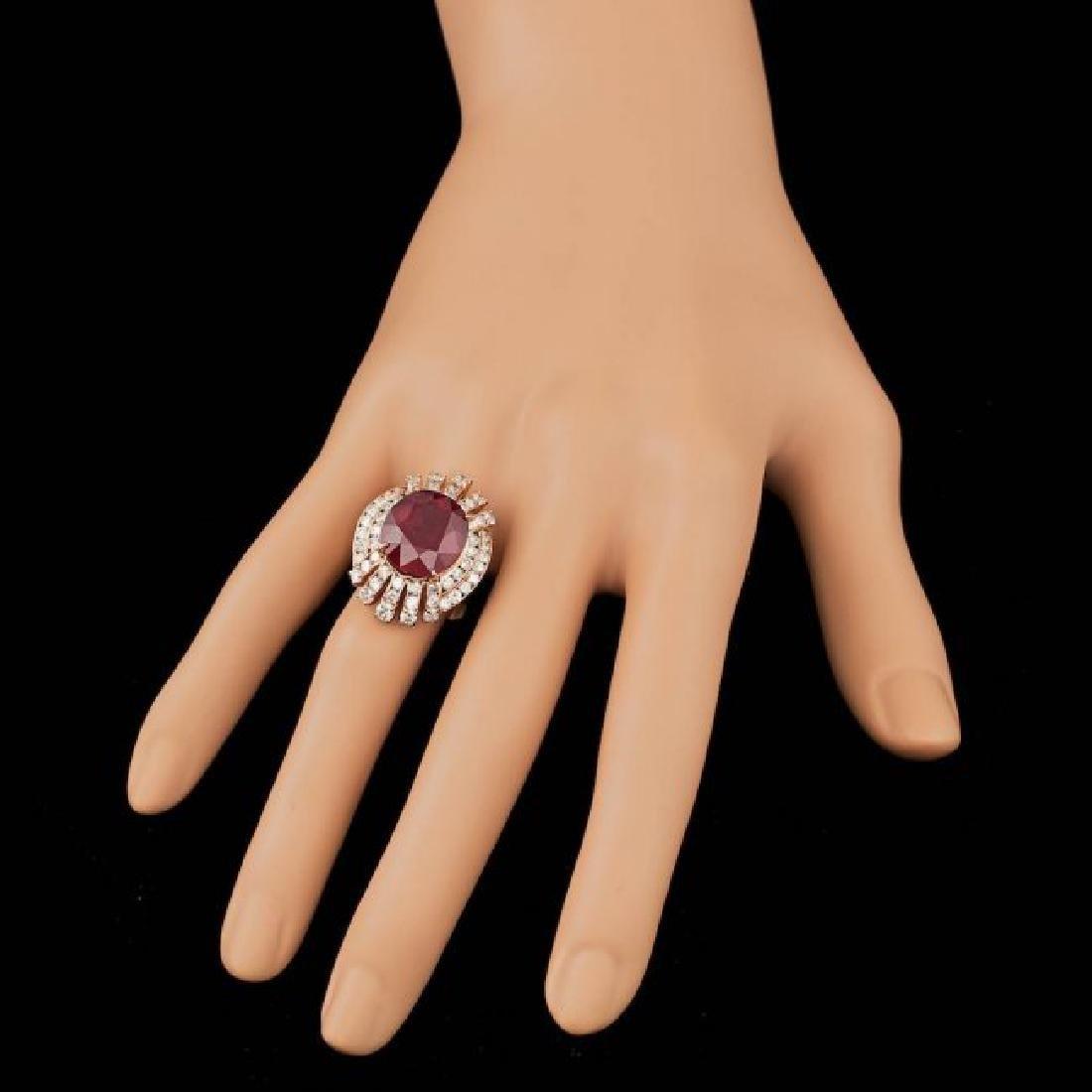 14k Rose Gold 11.00ct Ruby 2.10ct Diamond Ring - 4
