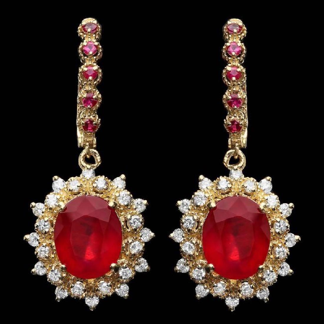 14k Gold 11.00ct Ruby 1.30ct Diamond Earrings
