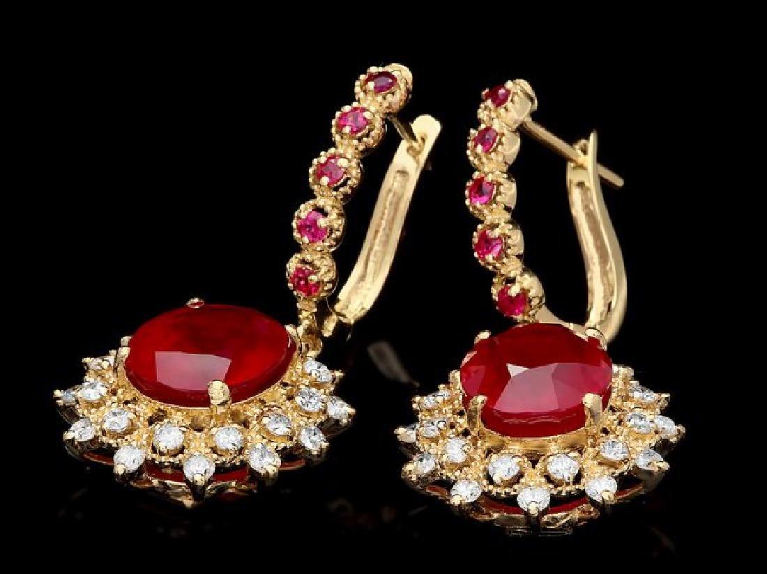 14k Gold 11.00ct Ruby 1.30ct Diamond Earrings - 2