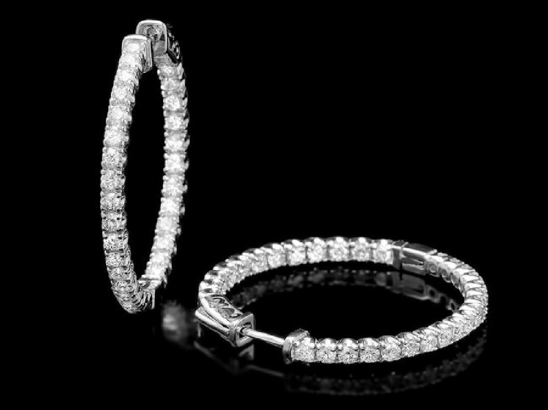 14k White Gold 2.80ct Diamond Earrings - 2