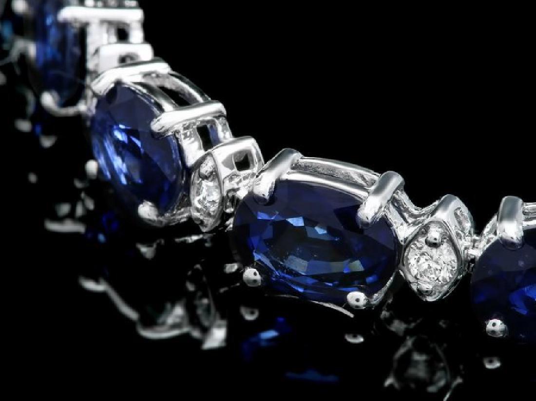 14k Gold 15.00ct Sapphire 0.60ct Diamond Bracelet - 2