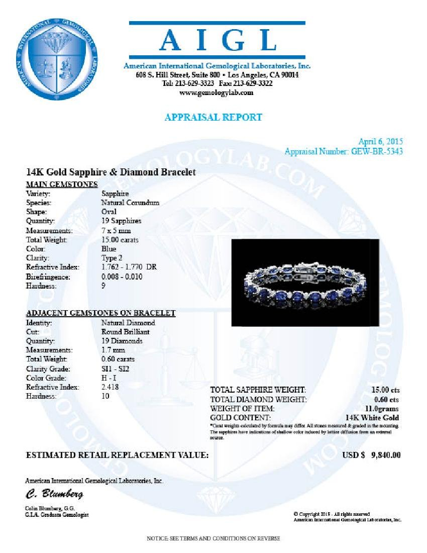 14k Gold 15.00ct Sapphire 0.60ct Diamond Bracelet - 6
