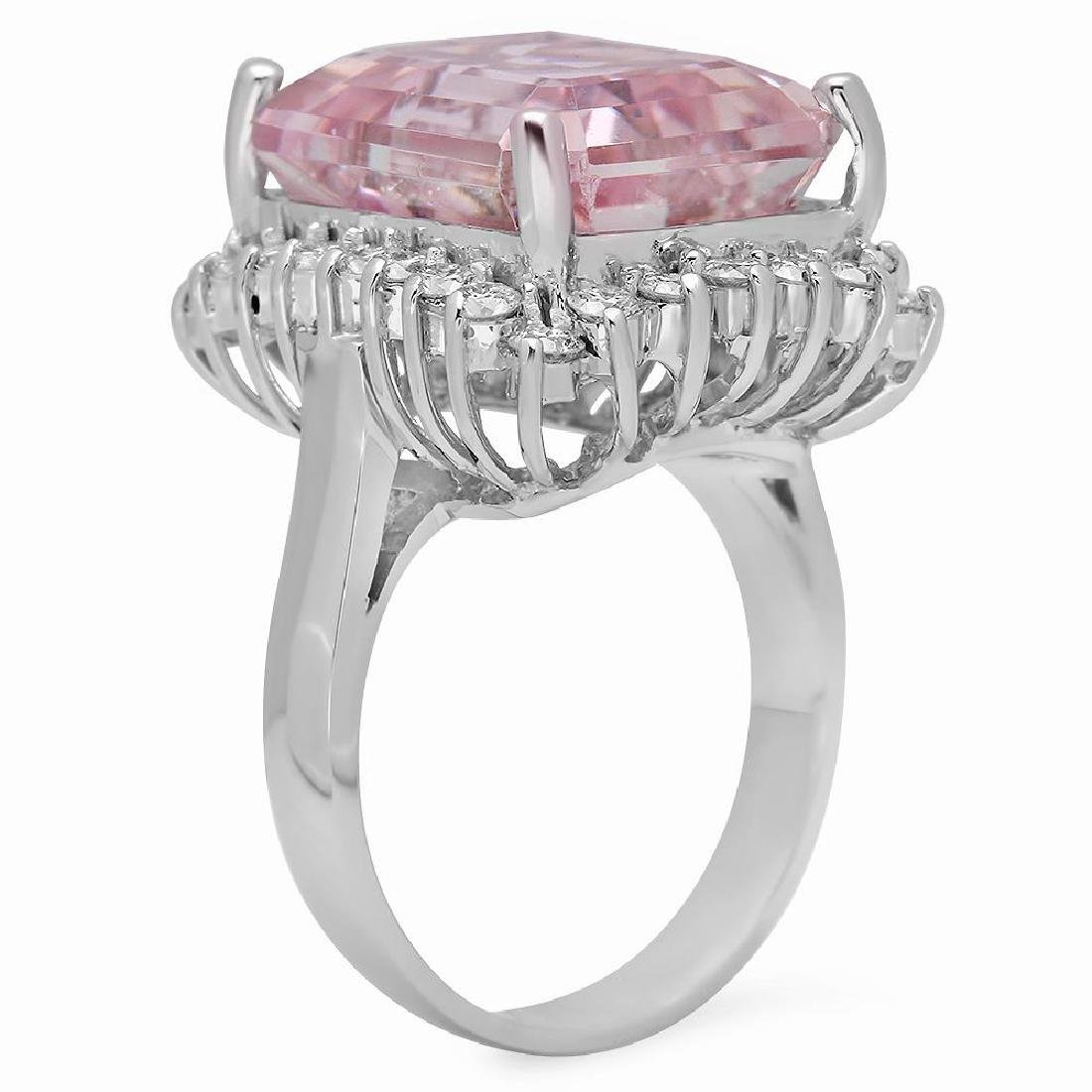 14K Gold 15.94ct Kunzite 1.18ct Diamond Ring - 2