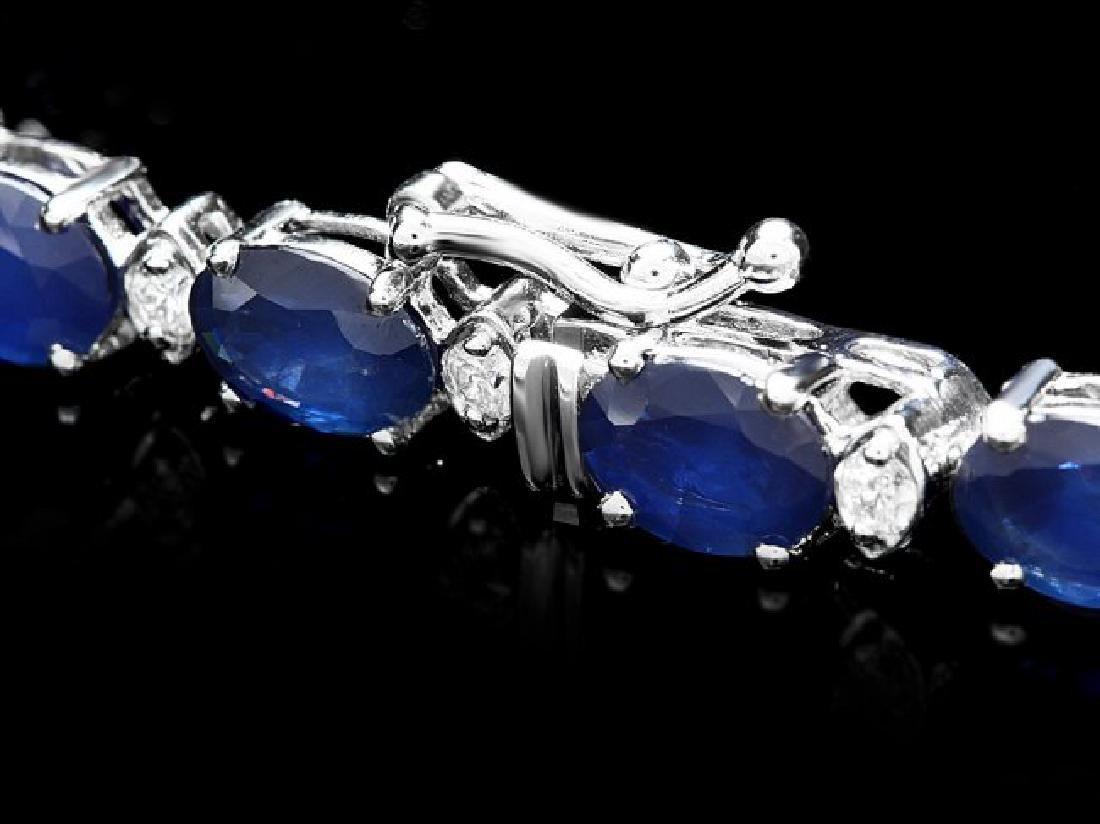 14k Gold 16ct Sapphire 0.75ct Diamond Bracelet - 3
