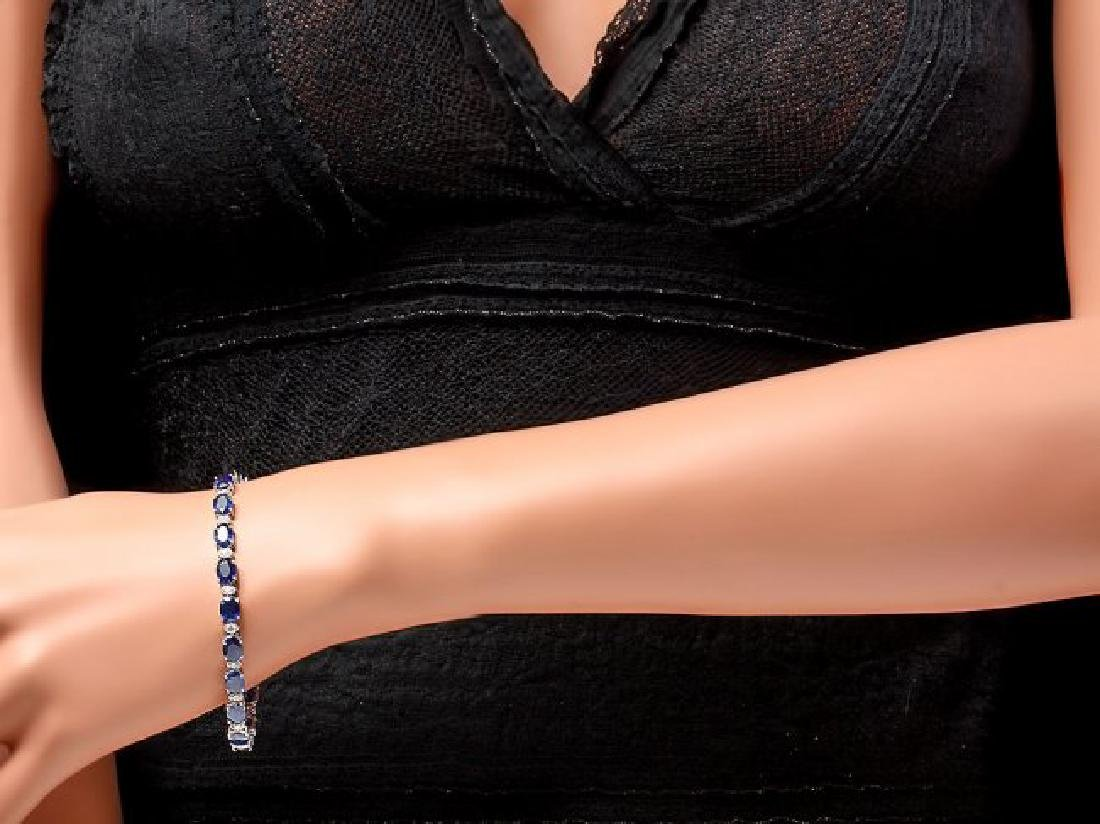 14k Gold 16ct Sapphire 0.75ct Diamond Bracelet - 4