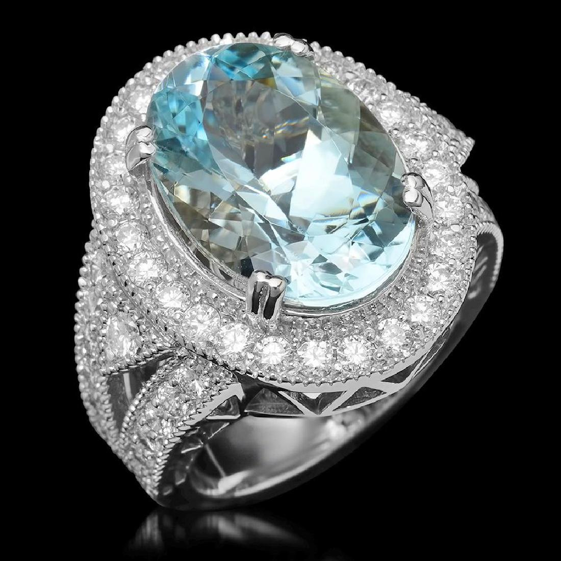 14K Gold 9.35ct Aquamarine & 1.85ct Diamond Ring