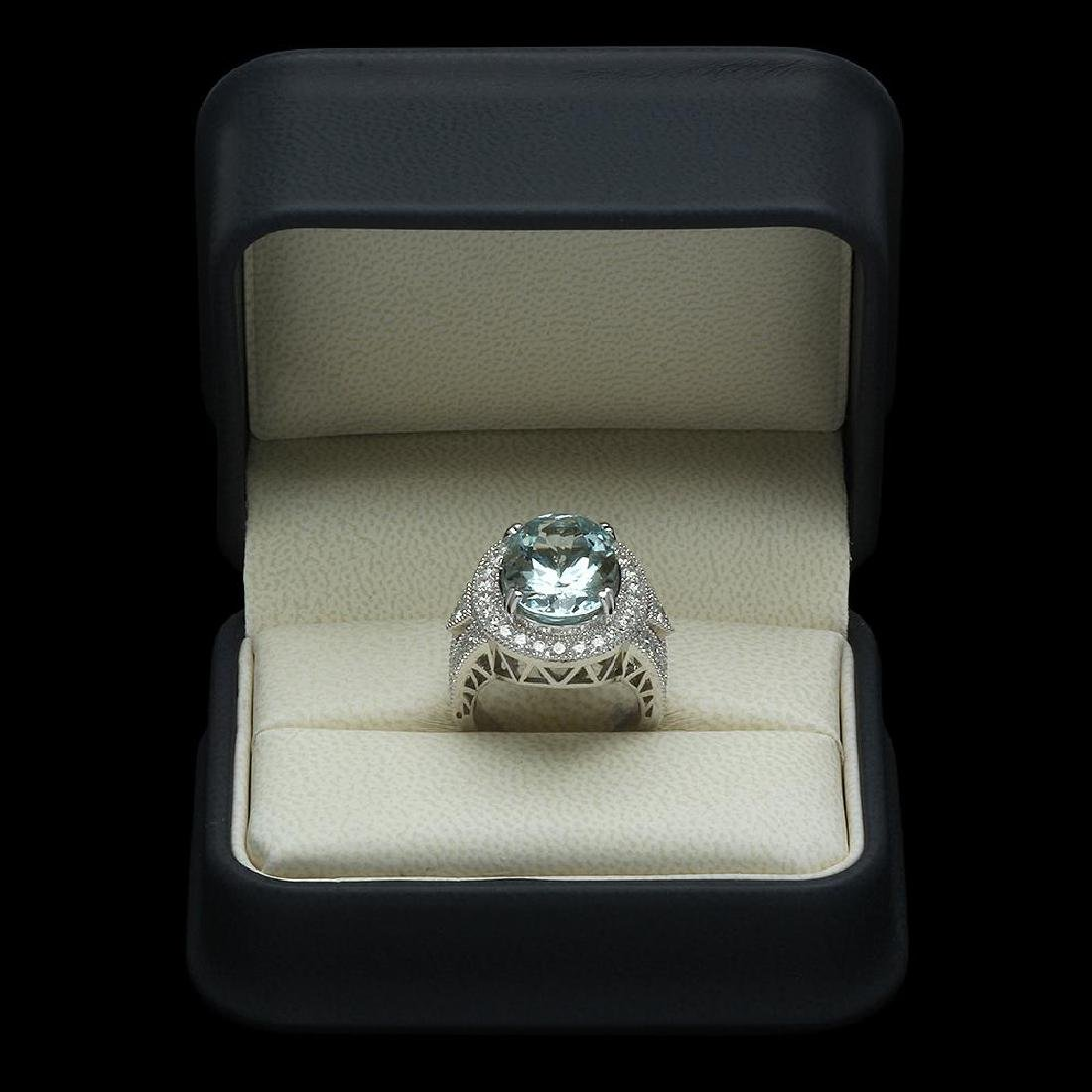 14K Gold 9.35ct Aquamarine & 1.85ct Diamond Ring - 4