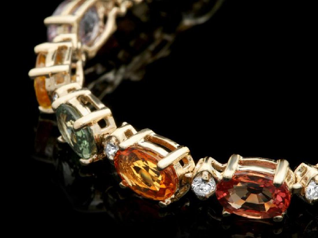 14k Gold 13.00ct Sapphire 0.50ct Diamond Bracelet - 2