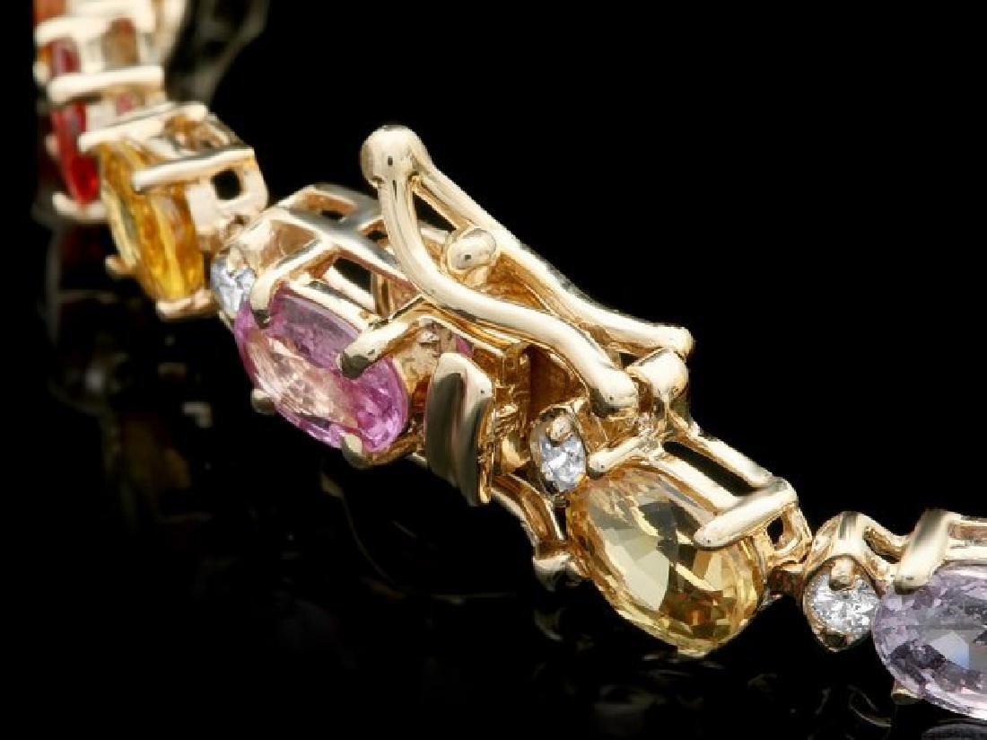 14k Gold 13.00ct Sapphire 0.50ct Diamond Bracelet - 3